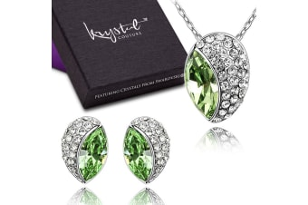 Avocado Necklace and Earrings Set Embellished with Swarovski crystals