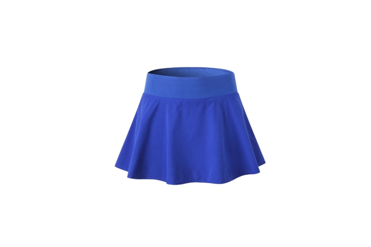 Women'S Pleated Elastic Quick-Drying Tennis Skirt With Shorts Running Skort - Blue Blue S