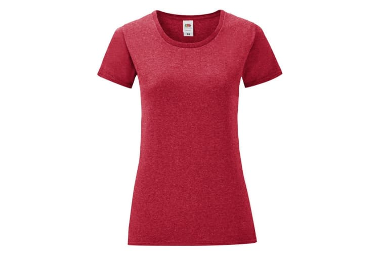 Fruit Of The Loom Womens/Ladies Iconic T-Shirt (Heather Red) (L)