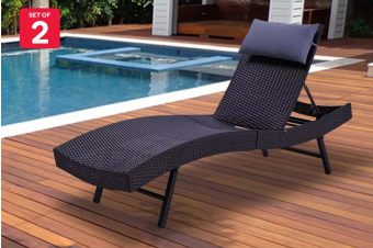 Shangri-La Set of 2 Wicker Sun Lounger (Black with Lavender Pillow)