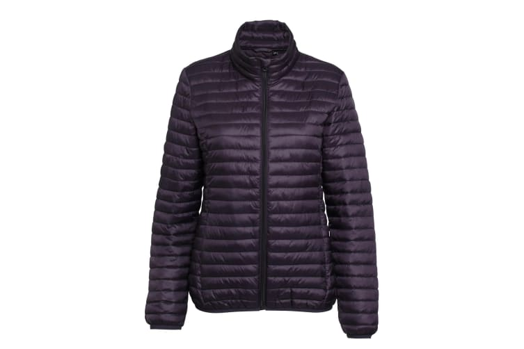 2786 Womens/Ladies Tribe Hooded Fineline Padded Jacket (Aubergine) (M)
