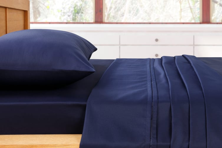 Ovela 1000TC Cotton Rich Luxury Sheet Set (Double, Midnight Blue)
