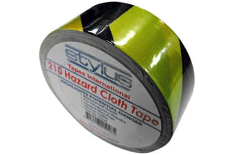 25Mt X 48Mm Hazard Cloth Tape Yellow& Black Warning Gaffer