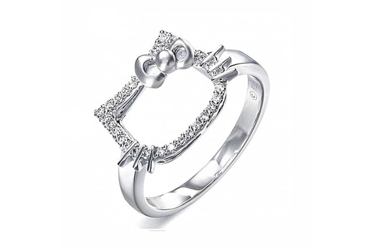.925 Kitty Plays Ring-Silver/Clear Adjustable Size