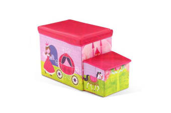 Kids Storage Toy Box Foldable Stool Ottoman Chair Children Chest Book Organiser Pink