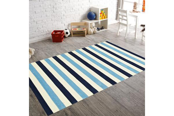Nautical Stripes Blue Rug 165x115cm