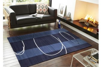 New Modern Retro Design Rug Blue Navy