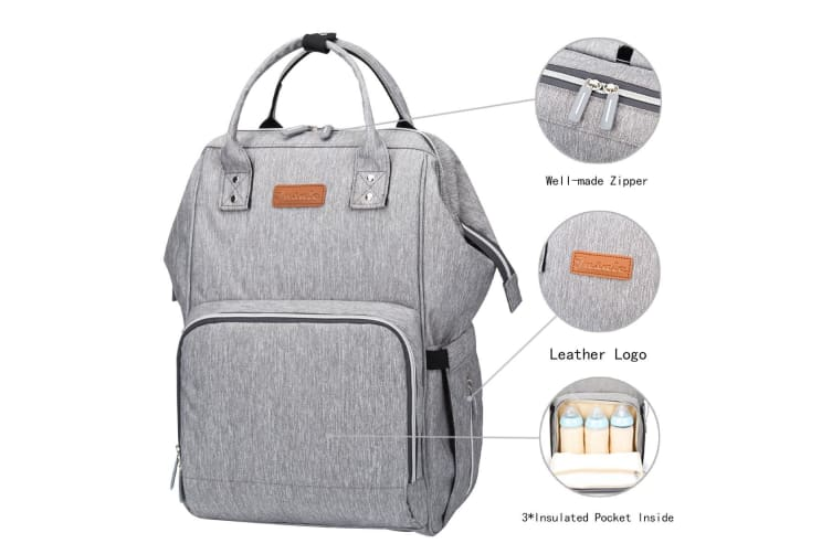 Multipurpose Baby Bag Diaper Nappy Backpack for Mummy in Grey