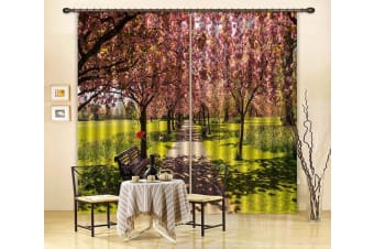 3D Flowers Trees Benches 364 Curtains Drapes, 203cmx241cm(WxH) 80''x 94''