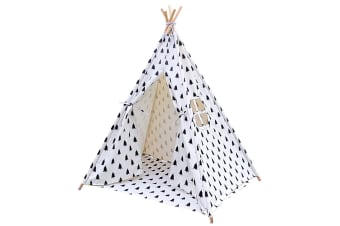 5 Poles Teepee Tent with Storage Bag (Black/White)