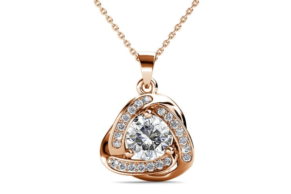 Celtic Knot Necklace And Earrings Set w/Swarovski Crystals-Rose Gold/Clear