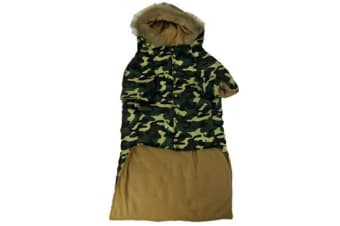 55CM Dark Green Camo Army Print w Faux Fur Collar Winter Pet Dog Puppy Cat Clothes Hoodie Jacket Coat