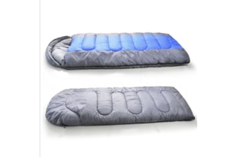 -20 Degree Thermal Single Outdoor Camping Sleeping Bag Envelope Mat Tent Hiking Blue