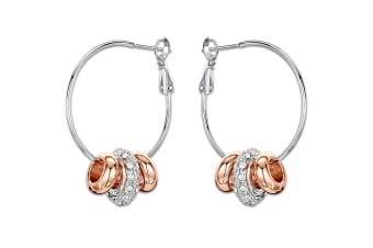 Dome Hoop Earrings w/Swarovski Crystals-Dual Tone Gold/Clear