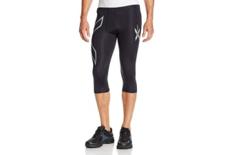 2XU Men's 3/4 Compression Tights (Black/Black, Size XL)