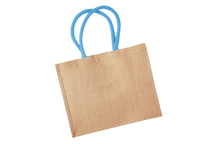 Westford Mill Classic Jute Shopper Bag (21 Litres) (Natural/Surf Blue) (One Size)
