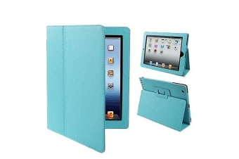 For iPad 2/3/4 Case Modern Lychee Leather High-Quality Shielding Cover Baby Blue