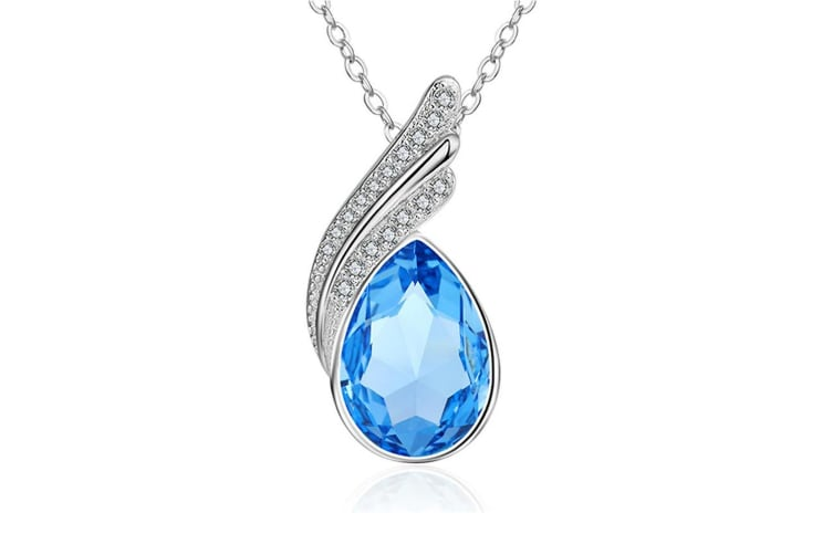 Ocean Blue Keera Necklace-White Gold/Ocean Blue