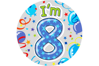 Expression Factory Childrens Boys I Am 8 Today Giant Badge (Blue)