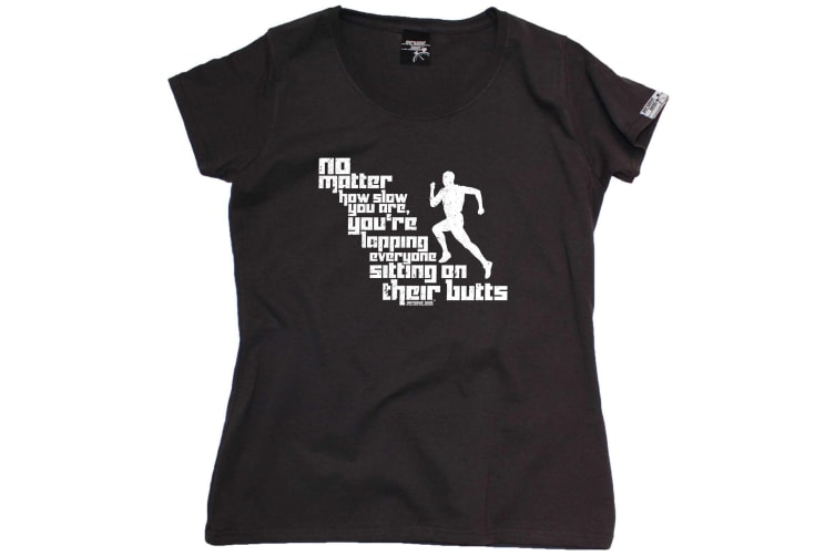 Personal Best Running Tee - No Matter How Slow You Are - (Small Black Womens T Shirt)