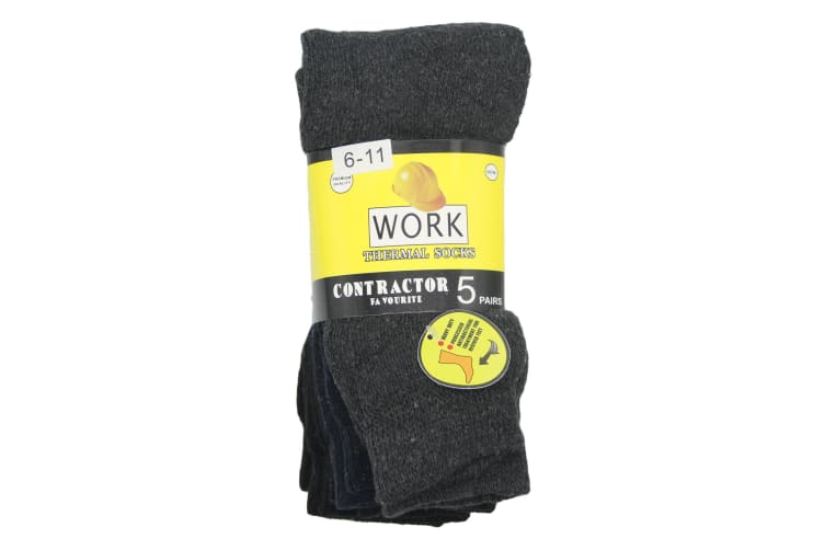 5 Pairs Men's Premium Thick Heavy Duty Tough Work Thermal Socks Hiking Business - Mixed Colour