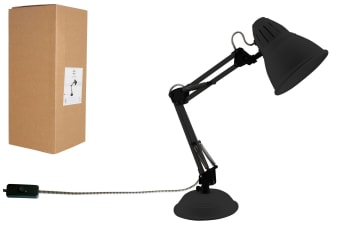 Luminite Black Metal Swivel Arm Table Lamp