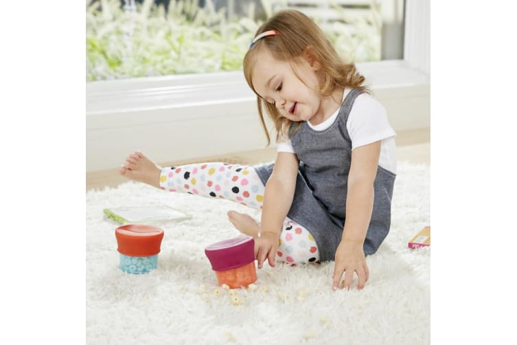 Boon Snug Baby/Toddler Snack Container Food Silicone Lid w/ Cup Storage 9m+ Pink