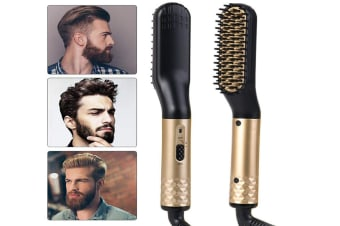 Beard Straightener for men, Beard Straightening Comb for Men-Fast Heat Multifunctional Comb for Beard Grooming And Hair Styling Fast Shaping-Golden