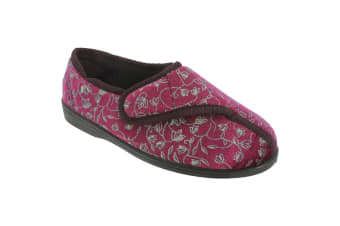 Zedzzz Womens/Ladies Janice Touch Fastening Floral Slippers (Wine)