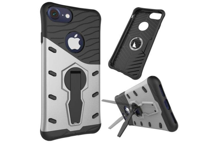 For iPhone 8 7 Case Modish Spin Armor Top-Quality Durable Shielding Cover Silver