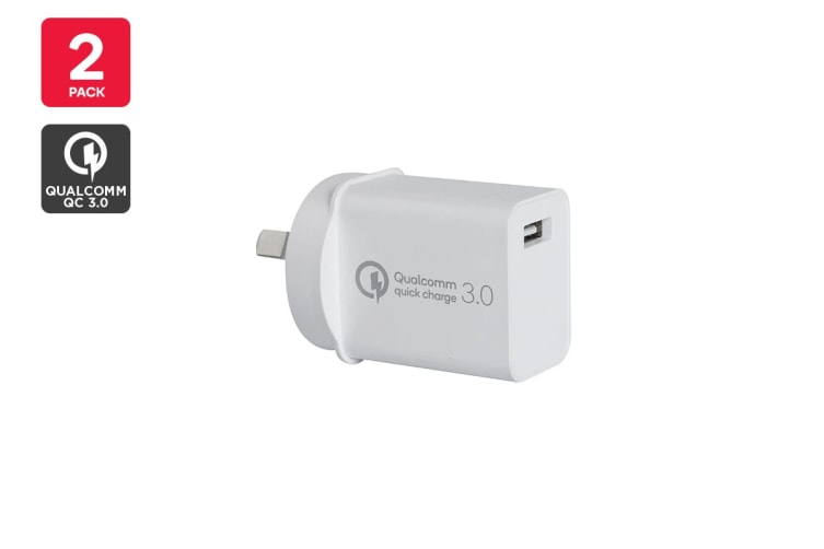 Kogan 18W USB Wall Charger with QC 3.0 - 2 Pack