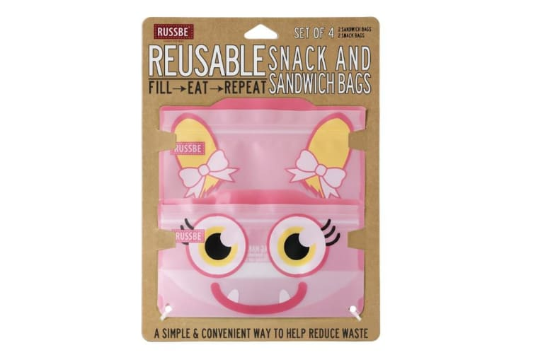 Russbe Snack and Sandwich Bag Set of 4 Pink Monster