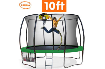 Trampoline 10 ft Kahuna with Basketball set - Green