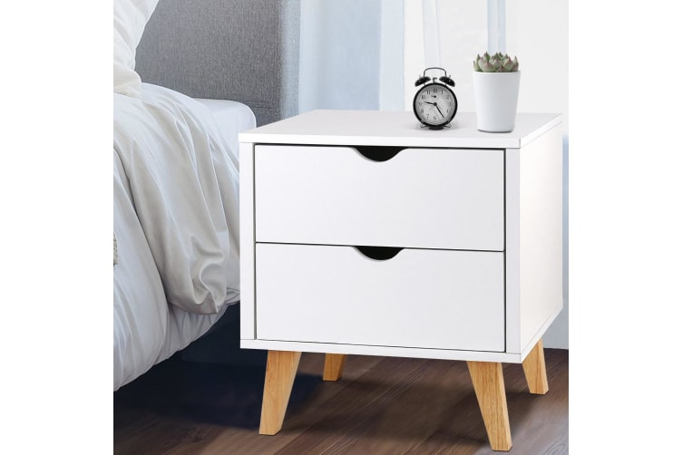 Set of 2 Bedside Table with Drawer Solid Wood Legs Home Bedroom Nightstand WH US