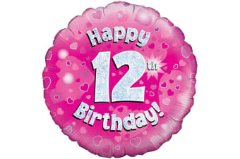 Oaktree 18 Inch Happy 12th Birthday Pink Holographic Balloon (Pink/Silver)