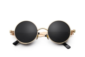 Gothic Steampunk Sunglasses For Women Men Round Lens Metal Frame
