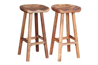 vidaXL Bar Stools 2 pcs Solid Acacia Wood 38x37x76 cm