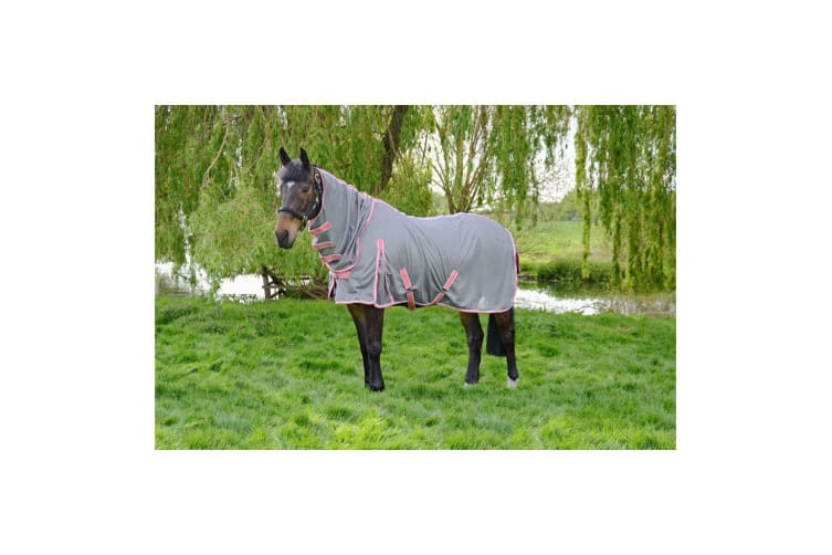 Hy Protect Full Neck Fly Rug (Grey/Coral) (7ft)