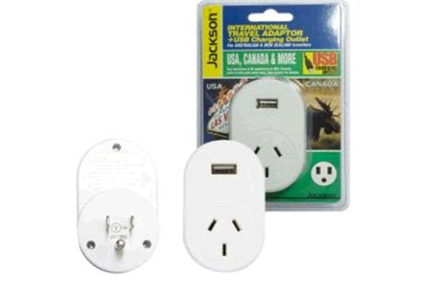 JACKSON PTA8809USB  Outbound Travel Adaptor     With 1x USB Charging Port. Converts NZ/Aust Plugs