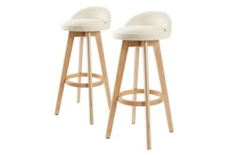 2X 72cm Oak Wood Bar Stool Fabric LEILA - BEIGE