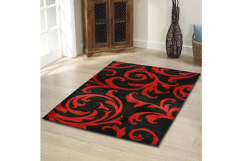 Stunning Thick Damask Rug Black