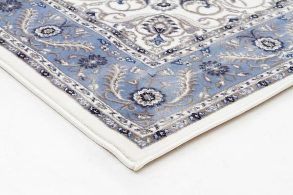 Medallion Rug White with Blue Border 330x240cm