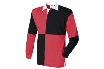 Front Row Quartered Rugby Sports Polo Shirt (Black/Red (White collar)) (2XL)