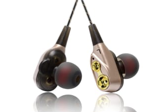 Mobile Phone Headphones Four-Core In-Ear Bass Wired Headphones Gold
