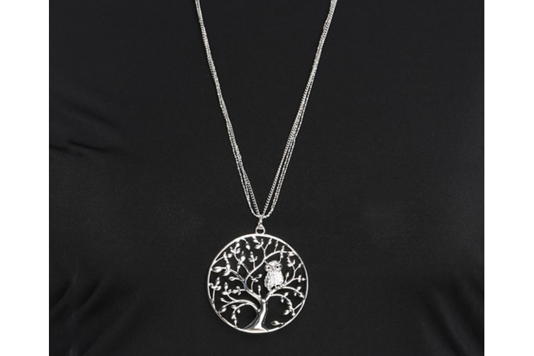 Lady'S Necklace Fashion Hollow Life Tree Sweater Chain White