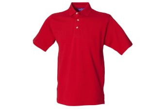 Henbury Mens Classic Plain Polo Shirt With Stand Up Collar (Vintage Red)