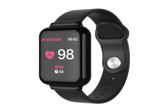 B57 Color Screen Smart Watch Heart Rate Blood Pressure oximeter Step Motion Call Reminder Waterproof Bluetooth Watch - BLACK