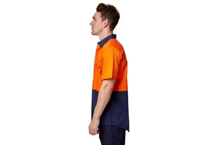 Hard Yakka Koolgear Ventilated Short Sleeve High-Vis Shirt (Orange/Navy, Size 5XL)