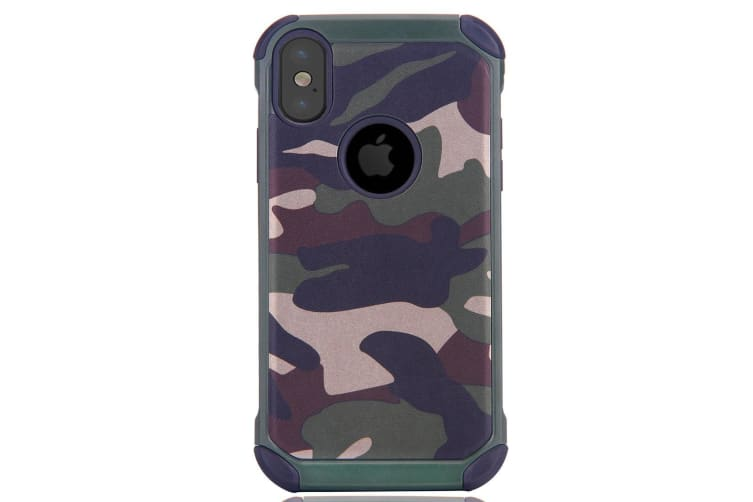 For iPhone XS X Case  Strong Armour Camo Durable Protective Cover Army Green
