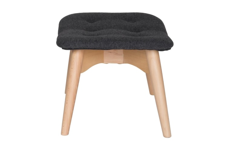 Replica Grant Featherston Ottoman   Grey / Charcoal Fabric   Natural Legs